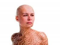 portrait-bald-woman-cube-mosaic
